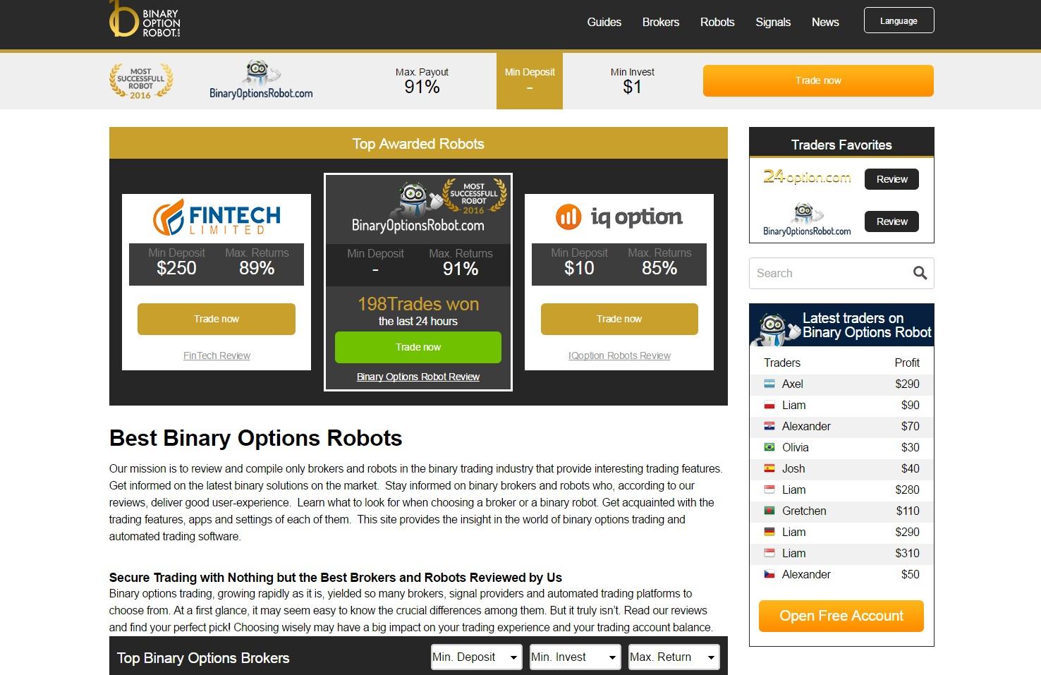 Robotul recenzie opțiuni binare