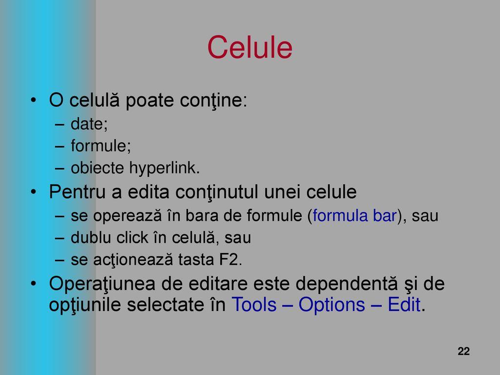 Editarea conținutului celulelor - Excel